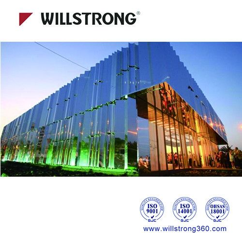Fireproof Mirror Aluminum Composite Panel Cladding For Buildings 5600mm Length
